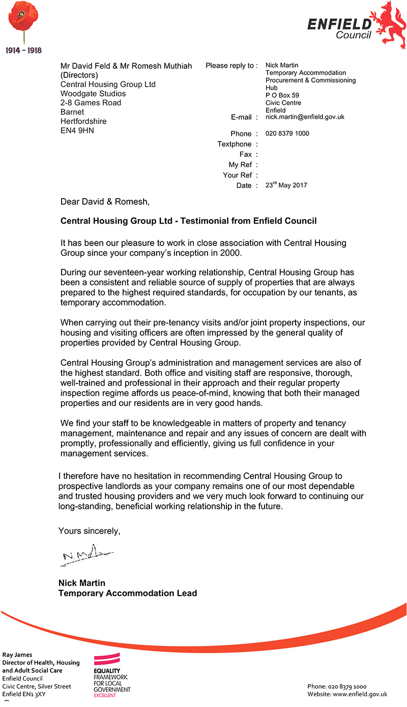 Enfield Council housing management services