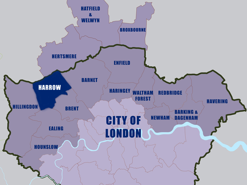 let-to-harrow-council-area-london-map