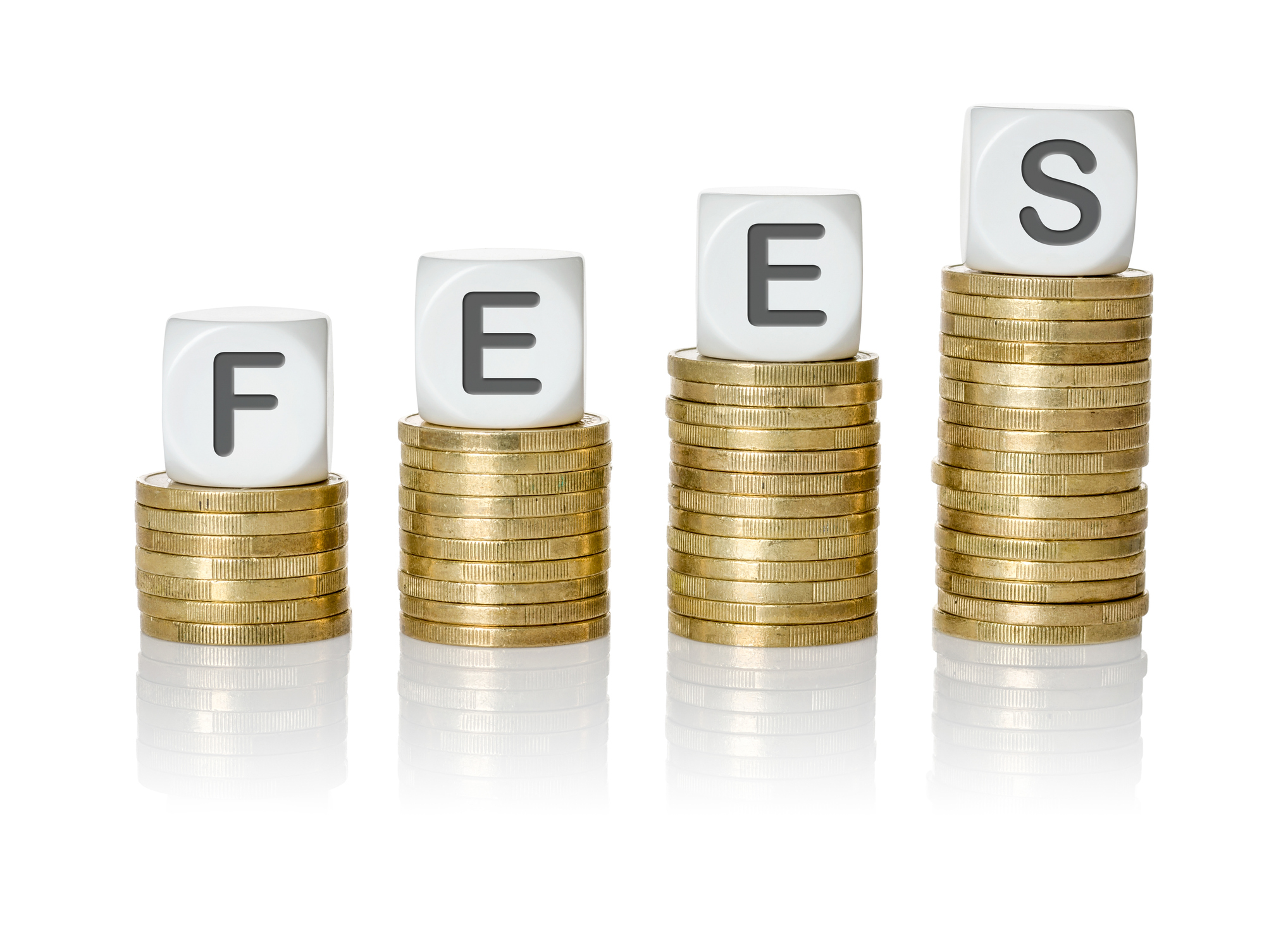 Coin stacks with letter dice for letting agent fees