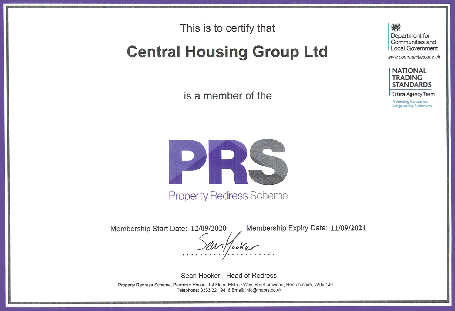 Property Redress Scheme - Central Housing Group Ltd